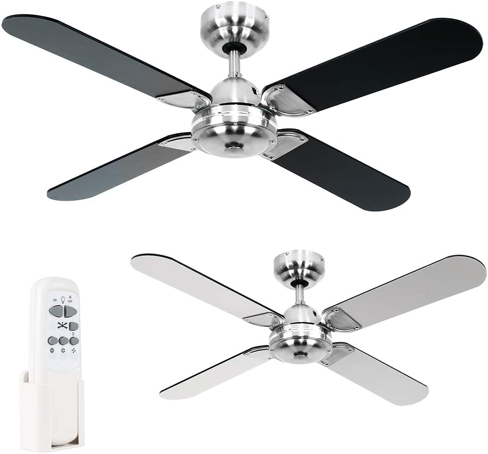 Minisun 42 Metal Brushed Chrome Modern Propeller Design Ceiling Fan With 4 X Black Blades A Handy Remote Control Amazon Co Uk Kitchen Home