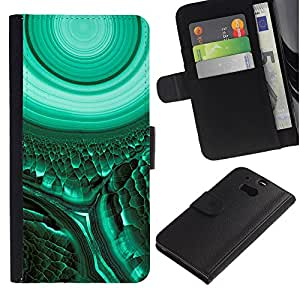 iKiki Tech / Cartera Funda Carcasa - Cell Biology Green Teal Mysterious - HTC One M8