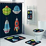 PRUNUSHOME 5-piece Bathroom Set-spaceship and spacecrafts cartoon set for space computer and phone game Prints decorate the bathroom,1-Shower Curtain,3-Mats,1-Bath towel(Small)