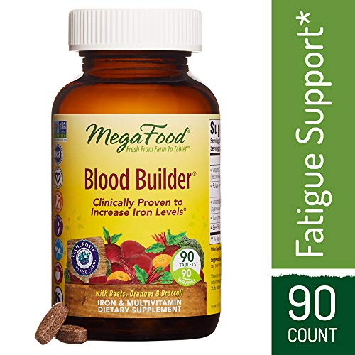 MegaFood - Blood Builder, Support for Healthy Iron Levels, Energy, and Red Blood Cell Production without Nausea or Constipation, Vegan, Gluten-Free, Non-GMO, 90 (Iron Plus Oxygen)
