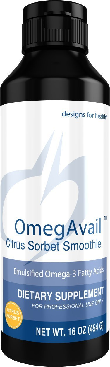 Designs for Health OmegAvail Smoothie - Citrus Sorbet TG Fish Oil Emulsion, Triglyceride Fish Oil (29 Servings, 16 Ounces)