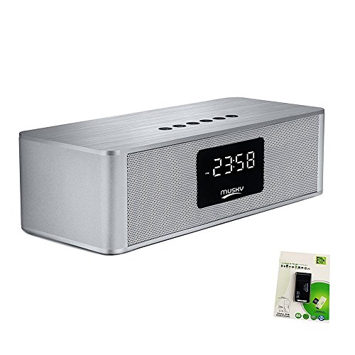Portable Bluetooth Speaker, with10W Acoustic Driver, LED Display, Dual Subwoofer, FM Radio, Alarm Clock, Handsfree Speakerphone, Micro SD Card & USB & AUX-In Slots for Smart Phone, Tablet and More (Speakerphone Display)