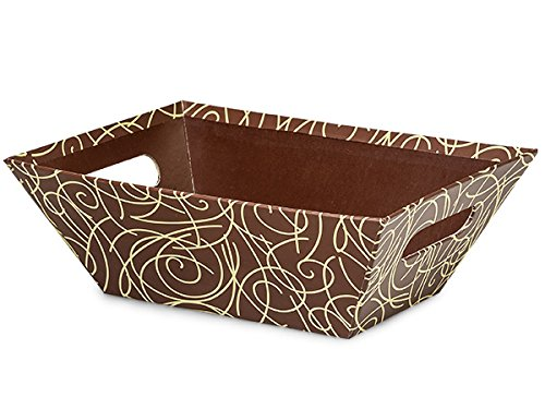 Pack Of 6, Scroll Pistachio & Chocolate Beveled Print Market Trays Large 7-1/2 X 9-7/8 X 3-1/2