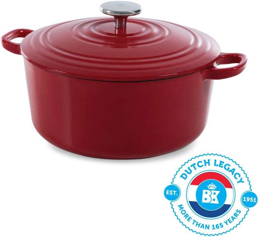 BK-Cookware H6072.528 BK Bourgogne holandés (28 cm, Hierro Fundido, Revestimiento esmaltado, Tapa con Anillas para Goteo, Apta para inducción, Horno, lavavajillas, Color, rojo pimiento