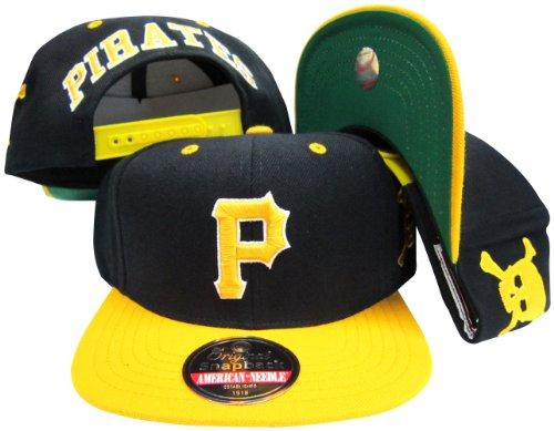 Pittsburgh Pirates Black/Yellow Two Tone Plastic Snapback Adjustable Snap Back Hat / Cap
