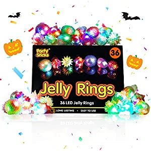 Best Epic Trends 51%2BgoVjknmL._SS300_ PartySticks Light Up Jelly Rings - 36pk LED Finger Lights Glow Party Favors for Kids, Flashing Glow Rings, Wearable Glow…