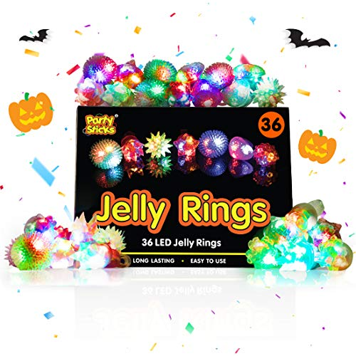 Flash Cracker Halloween (PartySticks Light Up Jelly Rings - 36pk LED Party Favors, Glow in The Dark Party Supplies for Kids and Adults in Assorted)