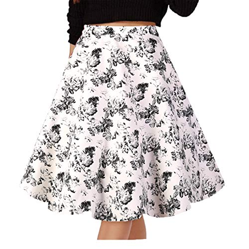 Musever Women's Pleated Vintage Skirts Floral Print Casual Midi Skirt White-Black Rose XL