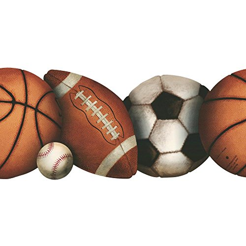 York Wallcoverings BZ9433BSMP Kids Book Let's Play Ball Border Memo Sample, 8-Inch x 10-Inch, Orange/Clay Brown/Black Onyx/Smoke Gray