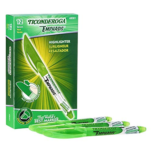 - TICONDEROGA Emphasis Fluorescent Highlighters, Pocket Style with Clip, Chisel Tip, Green, 12-Pack (48001)
