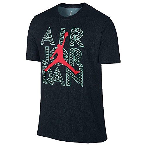 Jordan Men's AJ Stencil Dri-FIT T-Shirt Large Black Hyper Turquoise Infrared