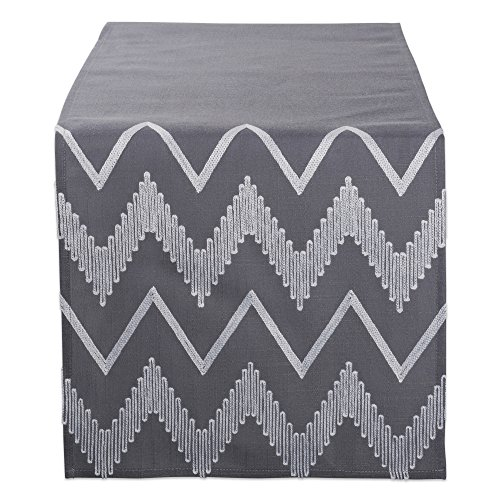 DII Polyester Embroidered Table Runner Spring Garden Party, Summer BBQ, Baby Showers Everyday Use - 14x70, Chevron on Gray Base