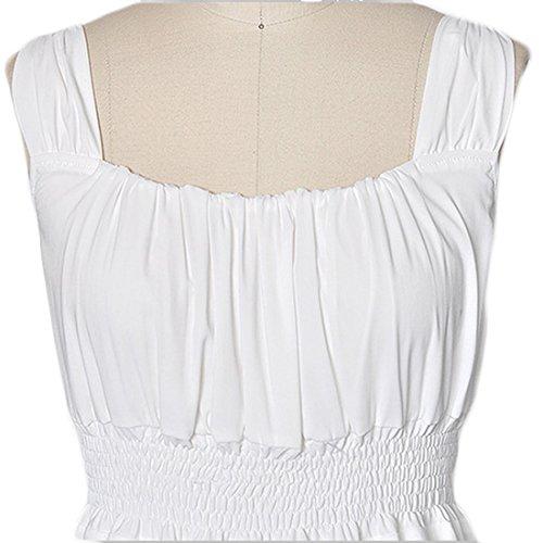 Plage L'été En Mousseline De Soie Sans Manches Femmes Coolsky De Vacances Sangle Longue Robe Maxi, Blanc