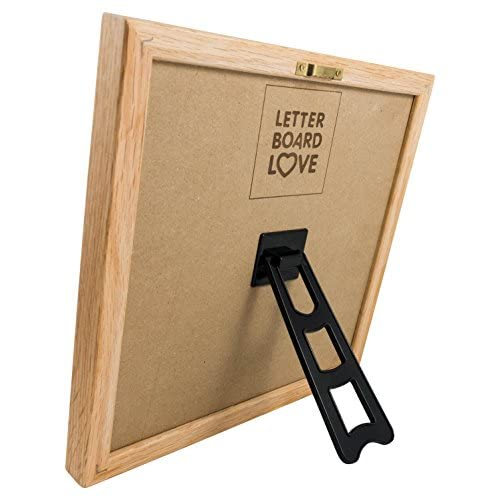 "10"" x 10"" Felt Letter Board with Solid Oak Wood Frame, 694 Letters + Special Characters & Emojis, Two Canvas Letter Bags, and Plastic Stand. (Black Felt)"