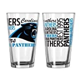 2015 NFL Football Spirit Series Beer Pints - 16 ounce Mixing Glasses, Set of 2 (Panthers)