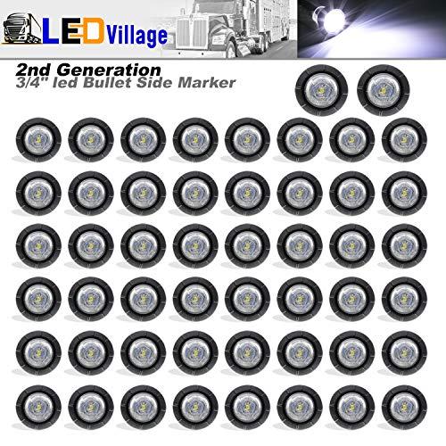 Ledvillage 50 Pcs 2nd Generation 3/4 Inch Mount White LED Bullet Marker Lights, Side Led Marker for Truck Boat SUV ATV Bike Trailer Marine