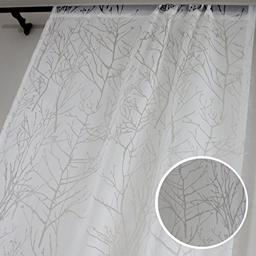 White Sheer Curtains Living Room Divider Voile - Anady Top 2 Panel White Branch Tree Sheer Drapes/Door Curtains Grommet 84 inch Long