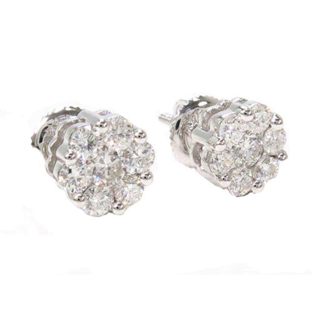 14K White Gold 0.95 Carat Genuine Round Cut Diamond Stud Earrings Set With Screw Backs