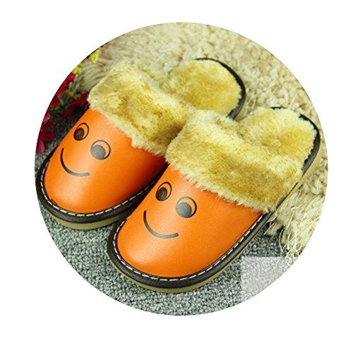 TELLW Niñas Niño Bebé Niños CASA De Cuero Cálido INVIERNO Dentro Lindo Zapatillas De Dibujos ANIMADOS Zapatos De INVIERNO Para Niños Orange