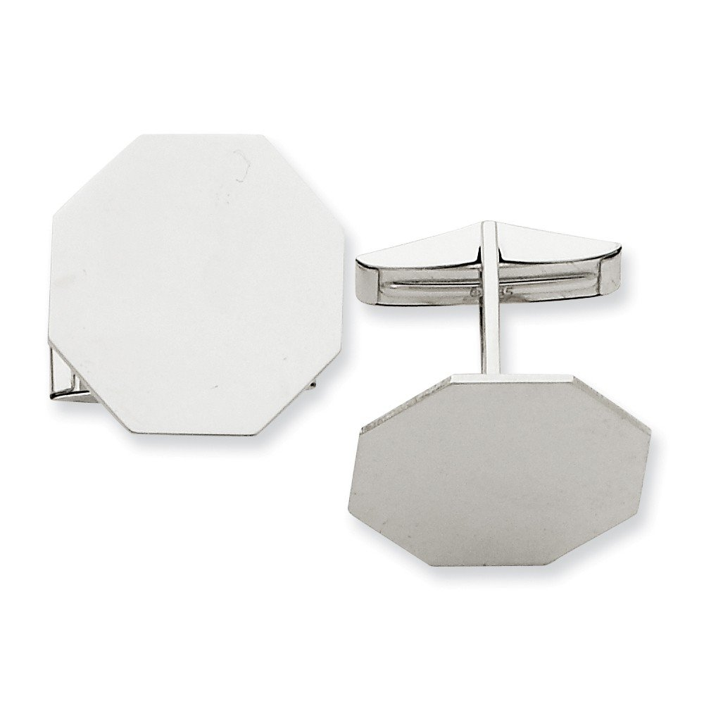 14k Solid White Gold Octagon Cuff Links