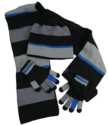 NIce Caps Adults Unisex Reversible Knit Hat/Scarf/Touchscreen Glove Set