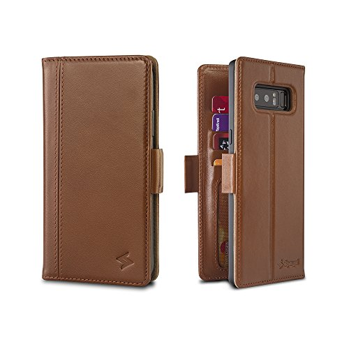 Spaysi Samsung Galaxy Note 8 Wallet Case Leather Handmade Book Style Flip Case for Note 8 Genuine Leather Case for Note 8 Case with Credit Card Holder Case for Note 8 RFID Blocking Wallet (Cognac) by Spaysi