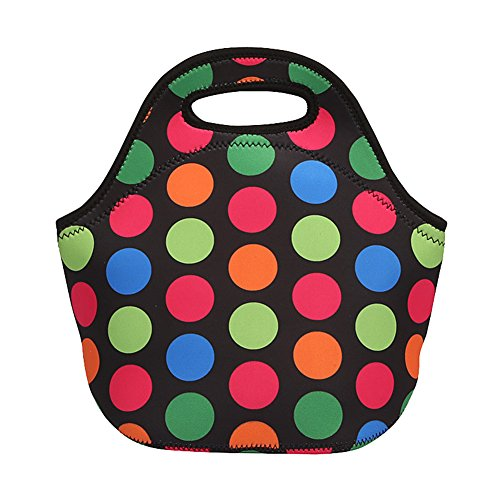 Haydice School Travel Outdoor Tote Insulated Bag Waterproof fabric lunch box bag Thermal handbag lunch bag For Kids Girls Teens Women (Polka Dot)