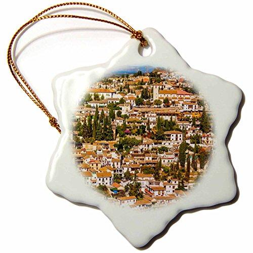 3dRose Cityscape, Albaicin Carrera Del Darro, Granada, Andalusia, Spain Snowflake Ornament, 3'' by 3dRose