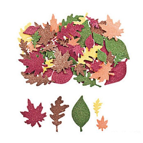 500 pcs ~ Glitter Leaf Foam Stickers / Self-adhesive Shapes ~ Approx. 1