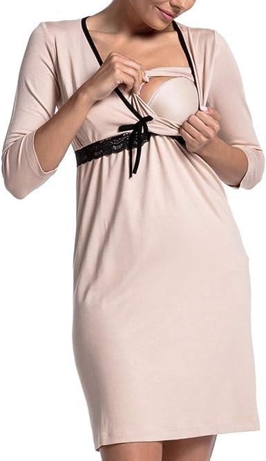 Vestido De Maternidad Moda con Cordones Pijamas Mini Vestidos ...