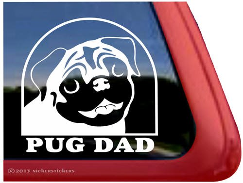 Pug Vinyl Window Decal Sticker
