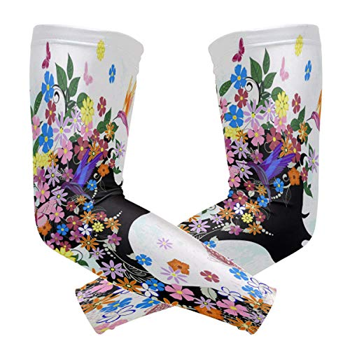 TaTaisu Floral Girl Butterfly Flower Sleeves to Cover Arms Shooter Men Women UV Protection Sunblock Protective Running Golf Cycling Driving Long Cooling Compression 1 Pair ()