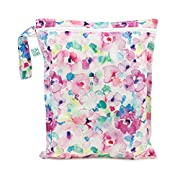 Bumkins Reusable Waterproof Wet Bag with Zipper, Watercolor