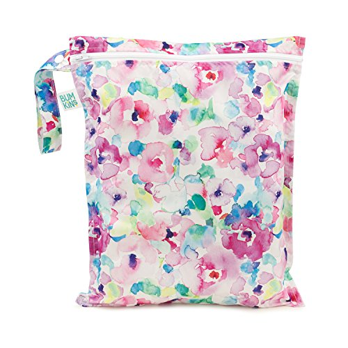 Bumkins Waterproof Wet Bag, Washable, Reusable for Travel, Beach, Pool, Stroller, Diapers, Dirty Gym Clothes, Wet Swimsuits, Toiletries, Electronics, Toys, 12x14 - Watercolors