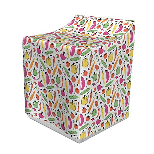 Ambesonne Vegetable Washer Cover, Food Drawing Composition Pickles Olives and Bell Peppers Colorful Design, Easy to Use Bathroom Accent Fabric, 29