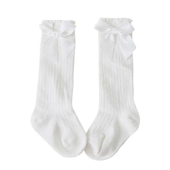 Calcetines de bebé, ❤️Amlaiworld Nuevos niños pequeños niñas bebé arco rodilla alta calcetines de algodón largo (S - 0-2T, Blanco): Amazon.es: Belleza