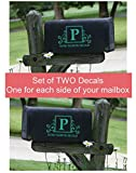 Monogram Vinyl Decals Mailbox Stickers Custom Initial Address Art, Set of 2 for Basic Mailbox