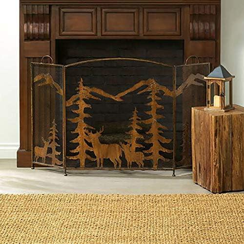 暖炉スクリーン 大型フラットガード錬鉄の暖炉スクリーン、屋内屋外の金属の装飾メッシュ、ベビーセーフ耐火パネルウッドバーニングストーブアクセサリー、32×56in
