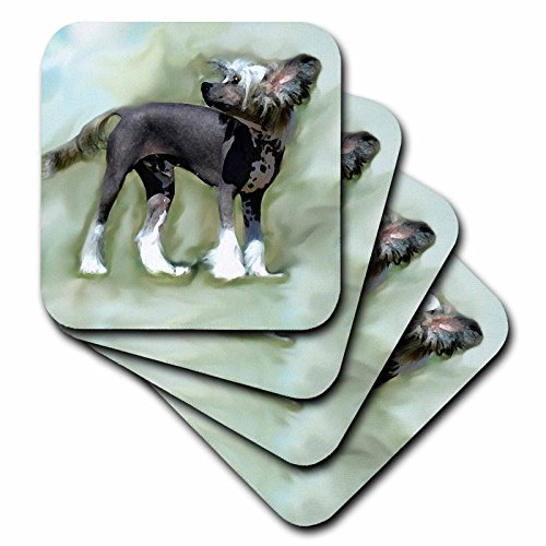3dRose Chinese Crested - Ceramic Tile Coasters, Set of 4 (CST_4254_3)