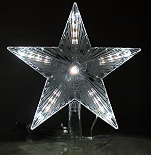 large led star tree topper with digital effect ice white