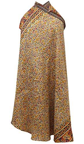 Indianbeautifulart Les Femmes Check Imprimer Pure Soie Vintage Saree rversible Rouge Wrap Summer Beach Dress Beige & Light Brown