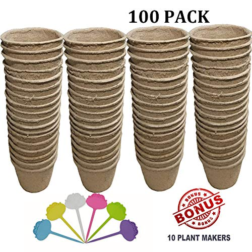 (Biodegradable Peat Pots for seedlings, 100 Pack Plant Seed Starter Pots Kit, 2.36inch Succulent Planter Nursery Pots with Free Plant Markers, Garden Germination Kits)