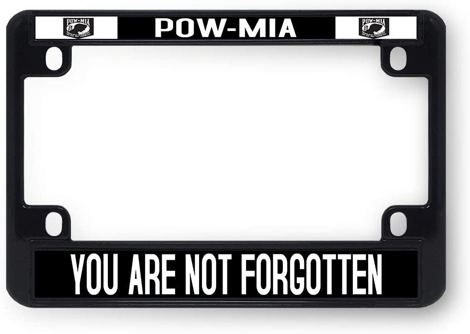 Sign Destination Metal Bike License Plate Frame Pow-Mia You are Not Forgotten Plate Motorcycle Tag Holder Black 4 Holes One Frame