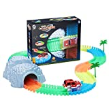 UOR Race Tracks Toy Car Flexible Tracks Set, 160 PCS Colored Racing Tracks Glowing with Tunnel and 1 Red toy Racing Car (Race Tracks Set)