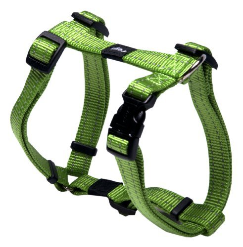 Rogz Utility Medium 5/8 Snake Adjustable Reflective Dog H-Harness, Lime by Rogz