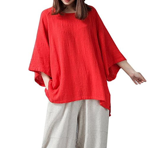 3/4 Sleeve Bib - FEITONG Womens Loose 3/4 Sleeve Blouse Solid Color Classical Tops T Shirt(L,Red)
