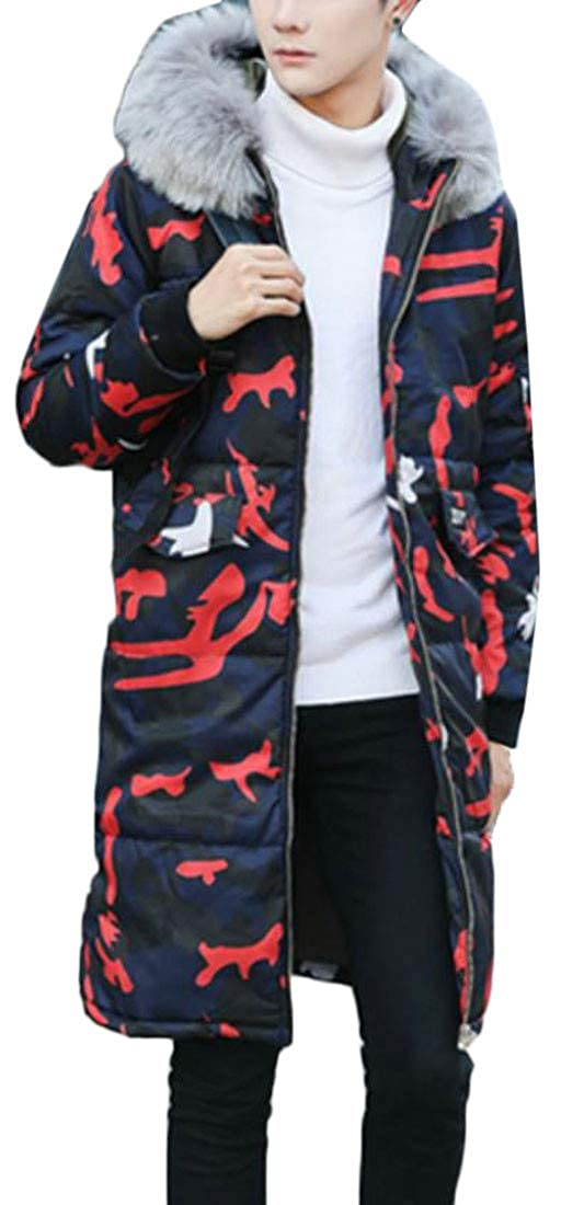 Etecredpow Mens Winter Outwear Faux Fur Hooded Camo Down Jacket Quilted Parka Coat