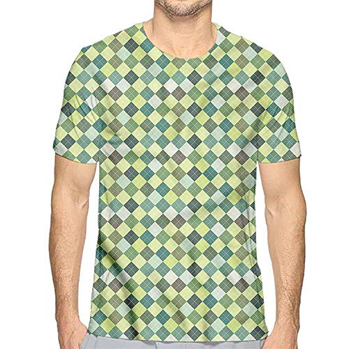 Comfort Colors t Shirt Plaid,Traditional Argyle Green t Shirt L