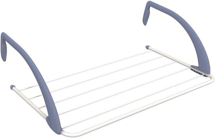 Gimi Airy Tendedero de radiador de Acero y Resina, 3 m de Longitud de tendido, blanco, metal, interior