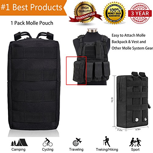 Molle Pouch Attachments Tactical Backpack Accessories Water Bottle Holder Bag Multipurpose Tools EDC Pouches for Outdoor Hiking Backpacking Camping Travel Car Cycling (black1)